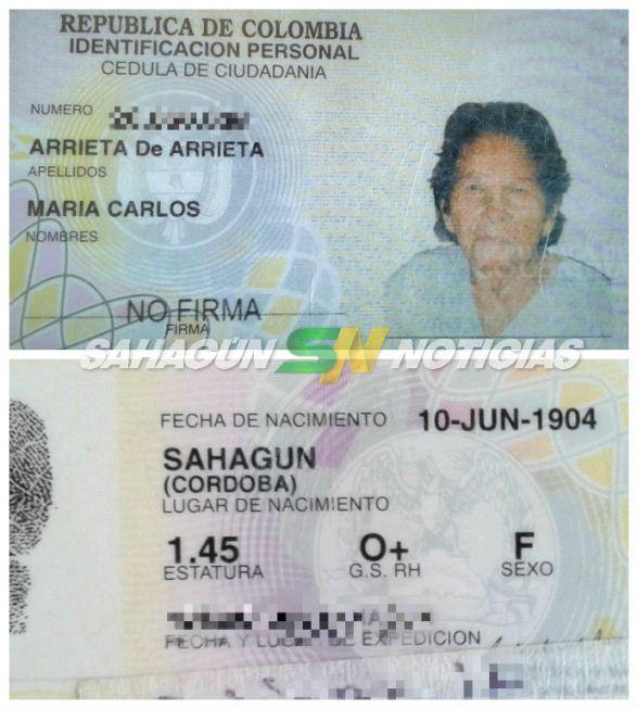 Su cédula no miente, María Carlos Arrieta cumplió el pasado 10 de junio de 2017, 113 años de vida.
