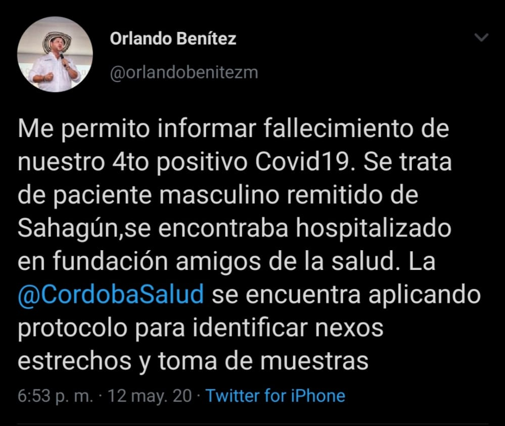 Tweet Gobernador Orlando Benítez